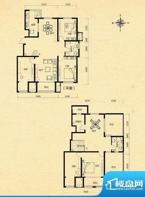 浅山香邑D1户型图 5室3厅2卫1厨面积:224.00平米