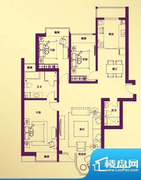 合生·滨江帝景A户型 3室2厅2卫面积:154.91平米