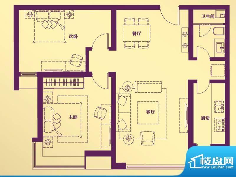 合生·滨江帝景D户型 2室2厅1卫面积:89.36平米