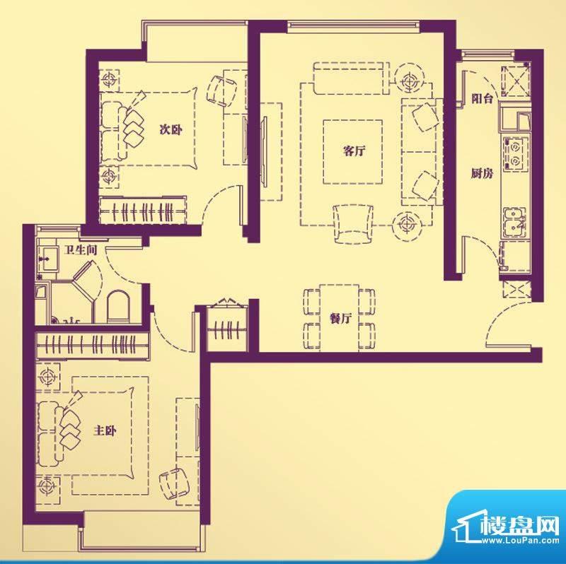 合生·滨江帝景C户型 2室2厅1卫面积:88.61平米