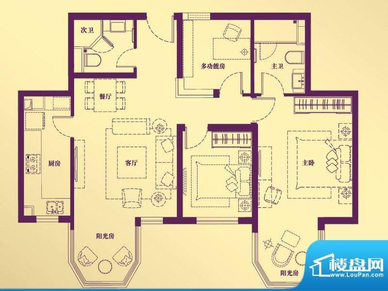 合生·滨江帝景B户型 3室2厅2卫面积:112.92平米