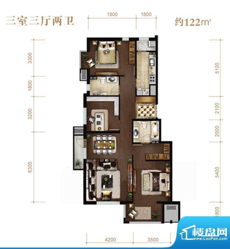 涧桥山B-01户型 3室3厅2卫1厨面积:122.00平米