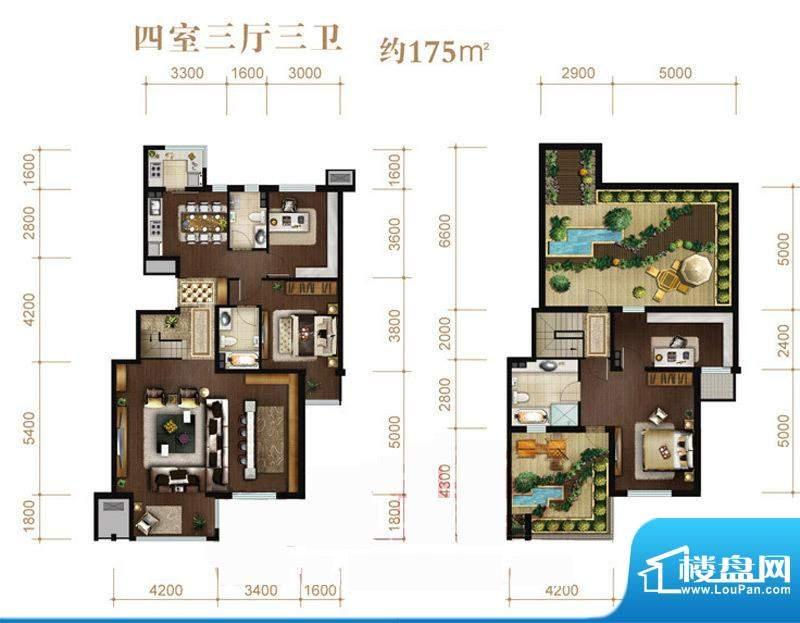 涧桥山A上跃户型 4室3厅3卫1厨面积:175.00平米
