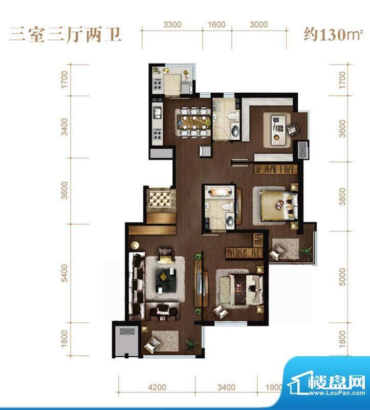 涧桥山E户型 3室3厅2卫1厨面积:130.00平米