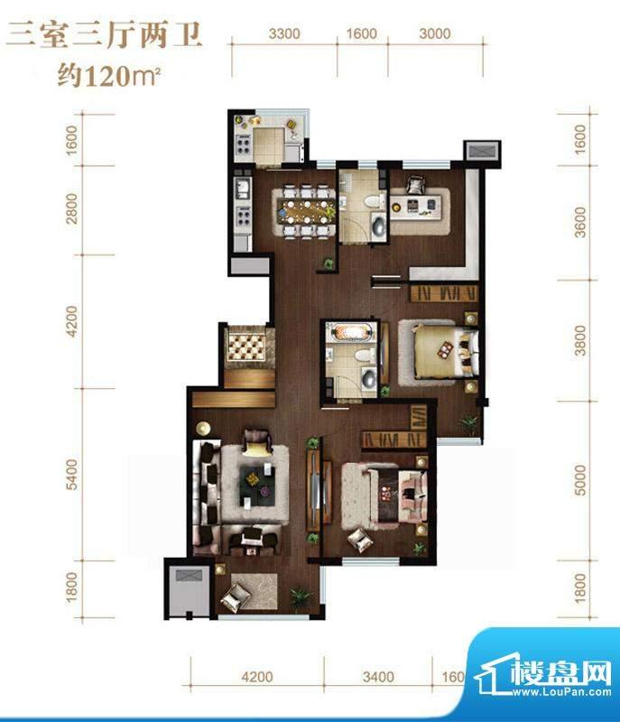 涧桥山A平层户型 3室3厅2卫1厨面积:120.00平米