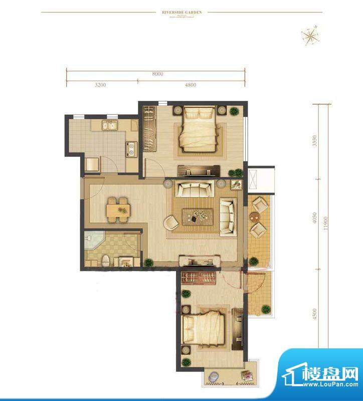 涧桥山F2户型 2室1厅1卫1厨面积:88.73平米