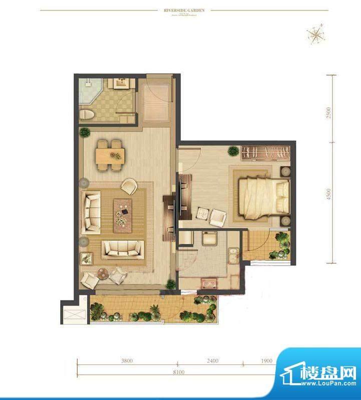 涧桥山E2户型 1室1厅1卫1厨面积:69.36平米