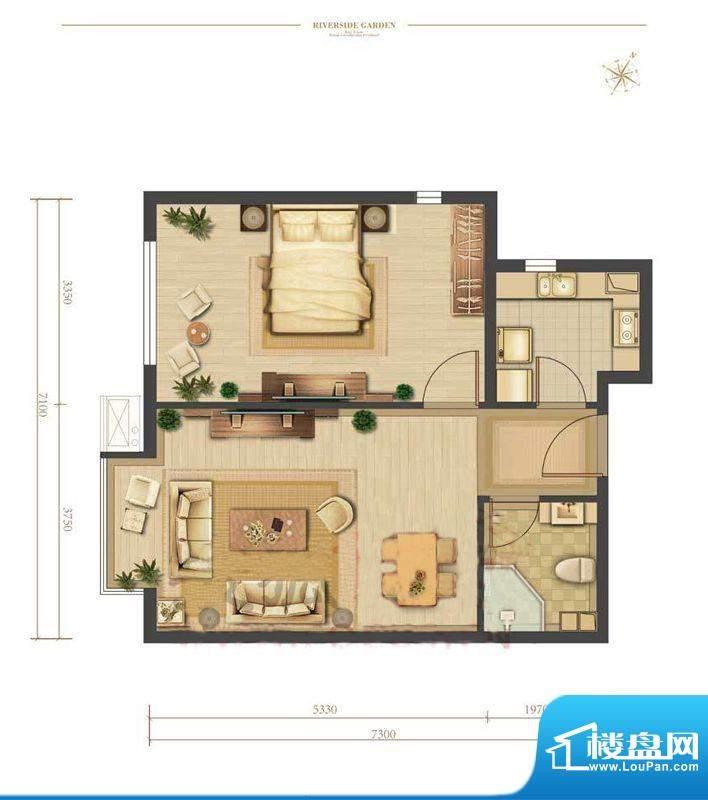涧桥山C户型 1室1厅1卫1厨面积:67.32平米
