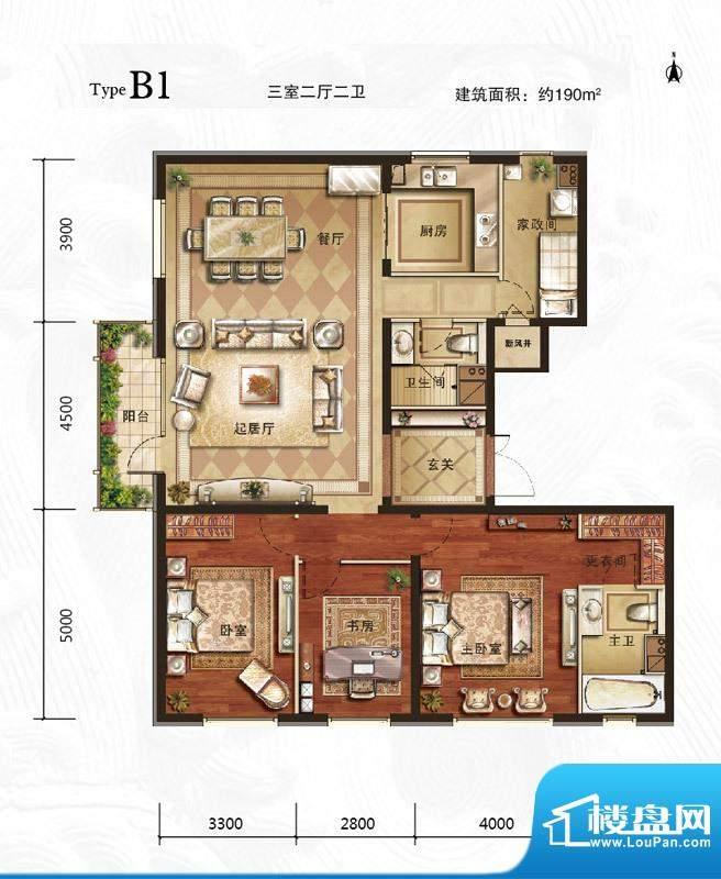 万年生态城·园博府B1户型图 3面积:190.00平米