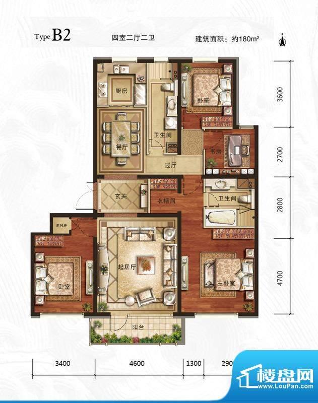 万年生态城·园博府B2户型图 4面积:180.00平米