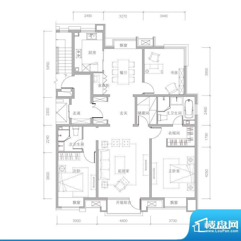 金第万科·朗润园B4户型 3室2厅面积:155.00平米