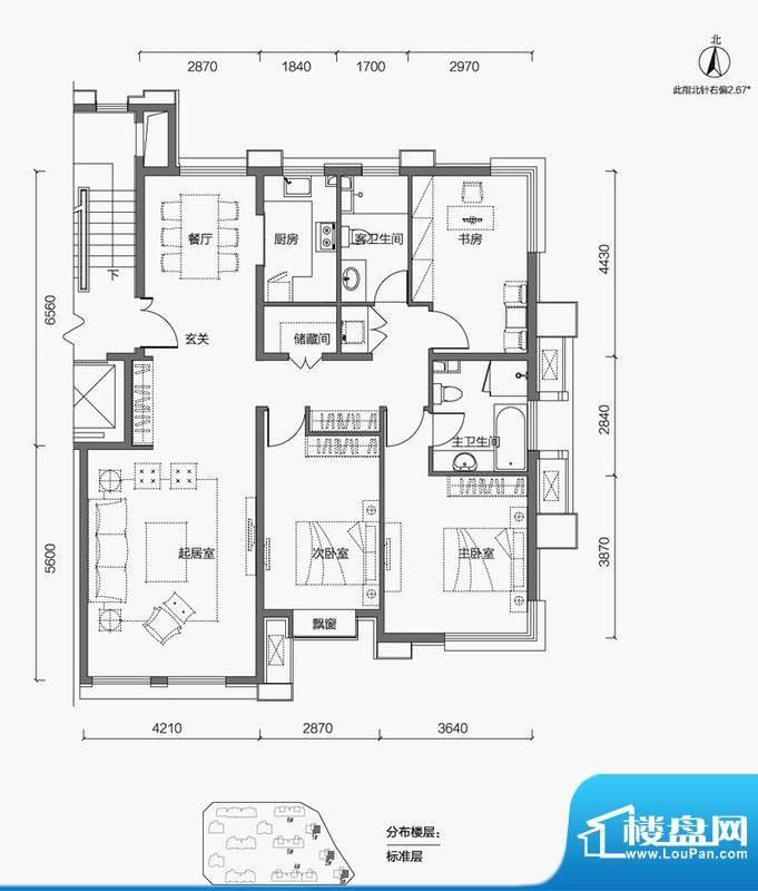 金第万科·朗润园3居户型图 3室面积:135.00平米