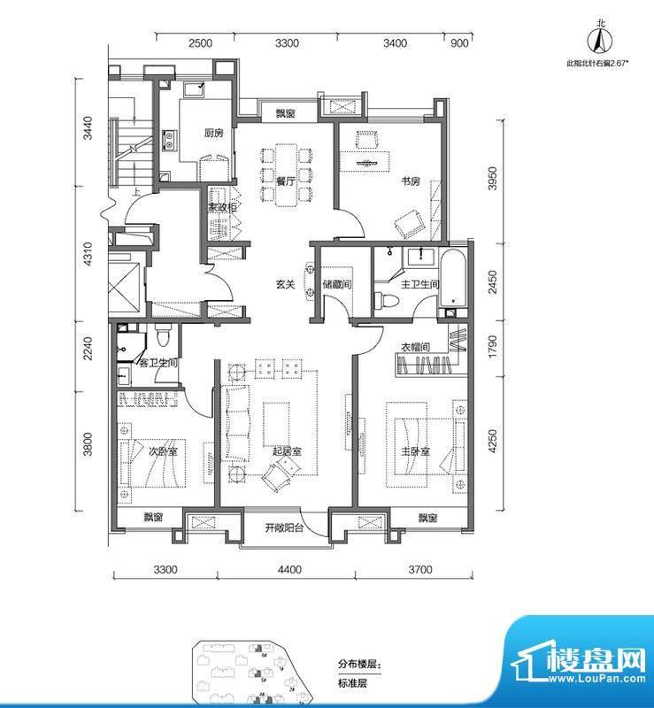 金第万科·朗润园3居户型图 3室面积:155.00平米