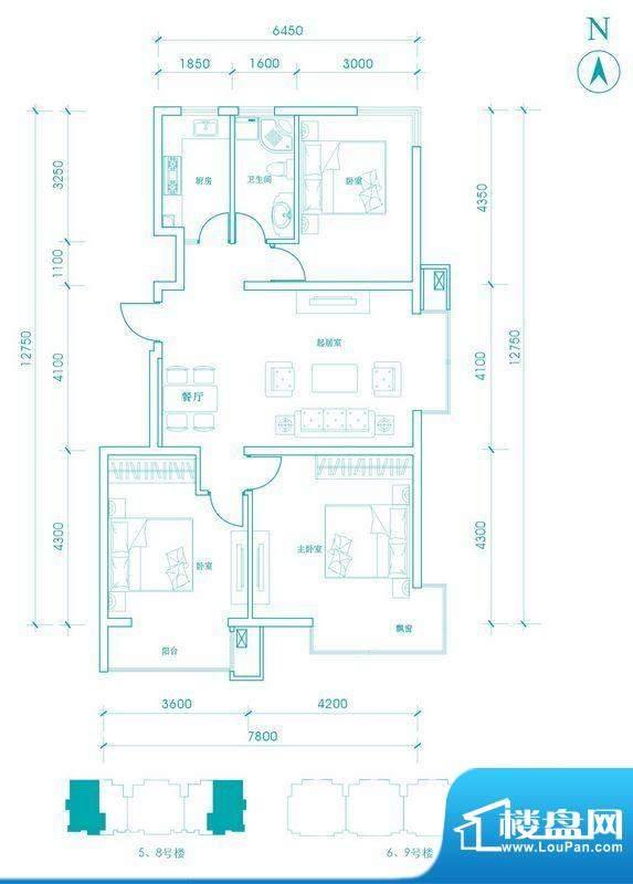 长阳光和作用B1户型图 3室2厅1面积:110.00平米