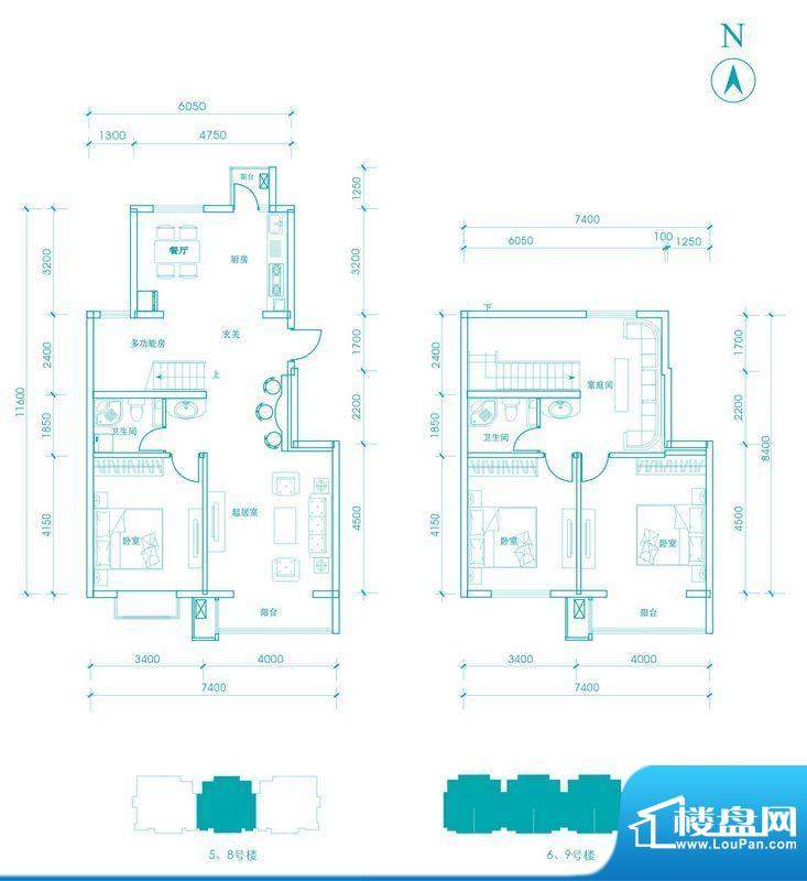 长阳光和作用B1跃层户型图 3室面积:165.00平米