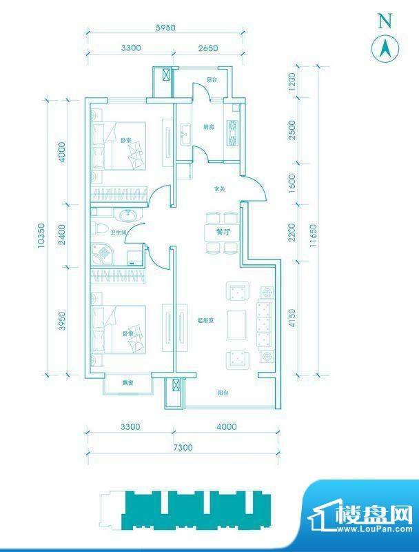 长阳光和作用B2户型图 2室2厅1面积:91.00平米