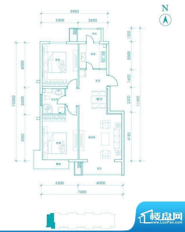 长阳光和作用B2边户型图 2室2厅面积:91.00平米