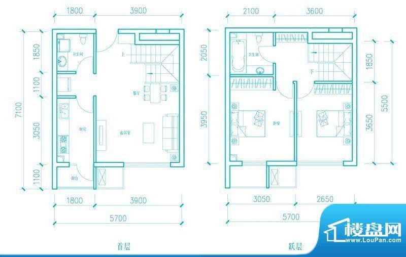 长阳光和作用A2户型图 2室2厅1面积:82.40平米