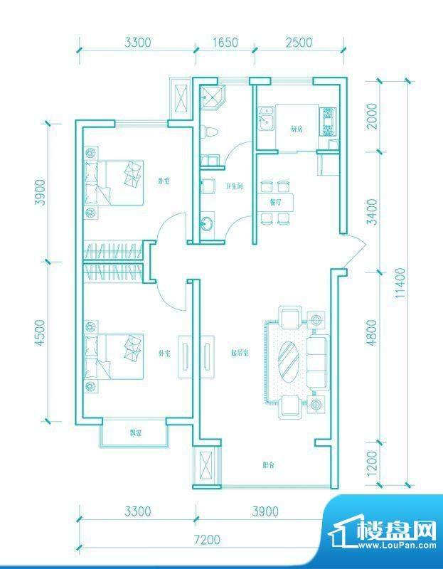 长阳光和作用A1户型图 2室2厅2面积:87.40平米