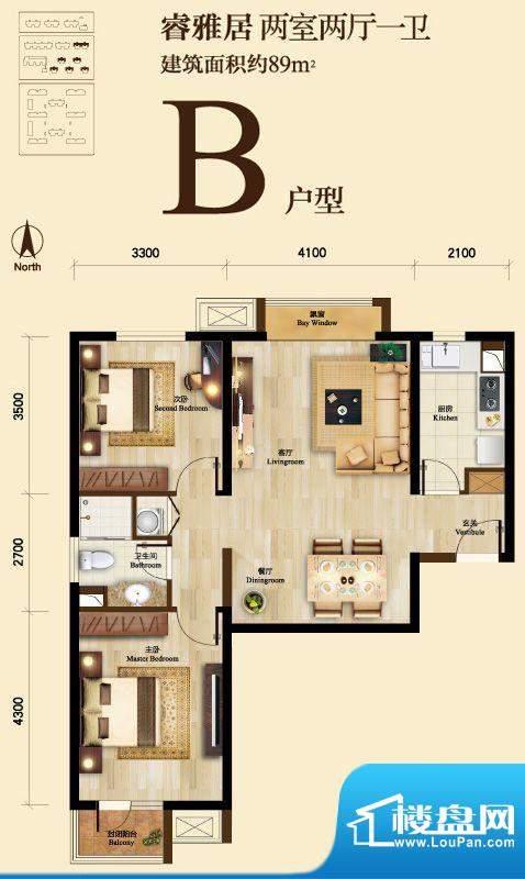 京投万科新里程B户型图 2室2厅面积:89.00平米