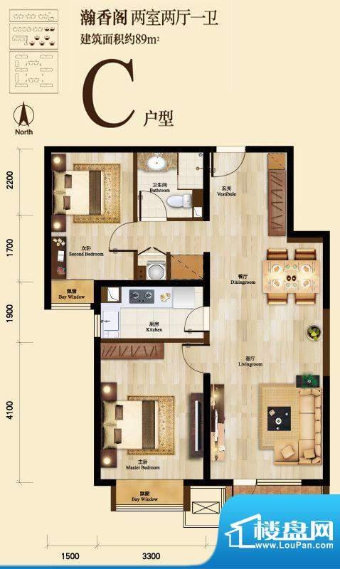 京投万科新里程C户型图 2室2厅面积:89.00平米