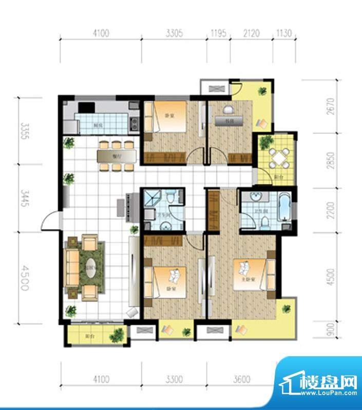 北京城建·世华泊郡13#H3户型 面积:158.00平米