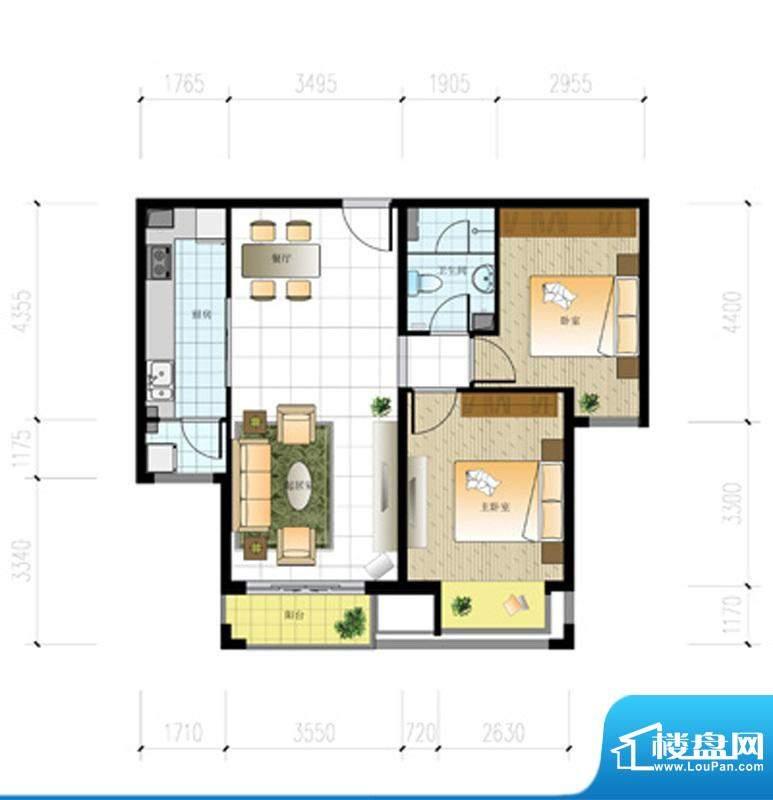 北京城建·世华泊郡13#H1户型 面积:89.00平米