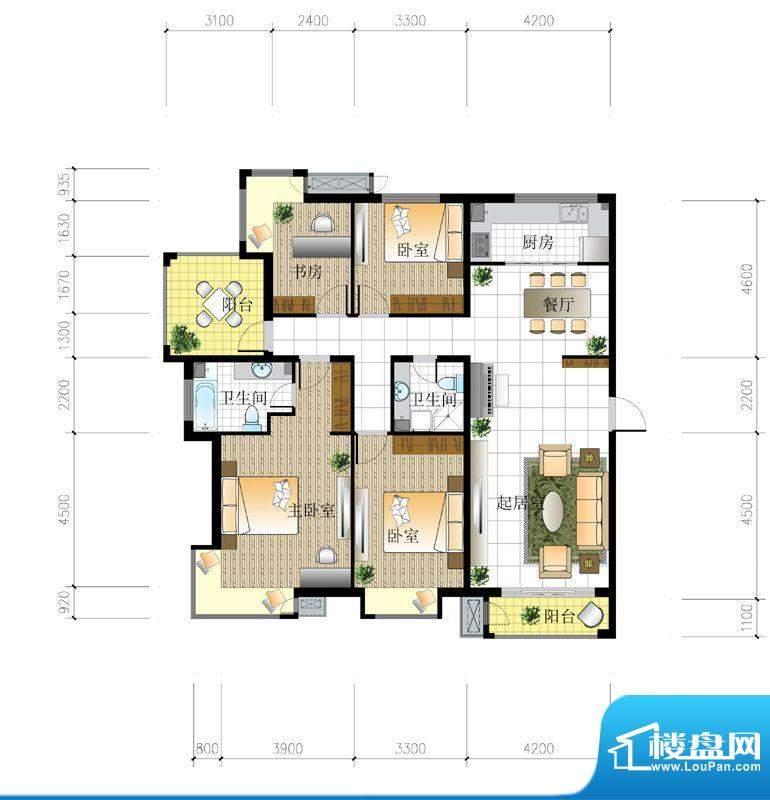 北京城建·世华泊郡4#I3户型 4面积:165.00平米