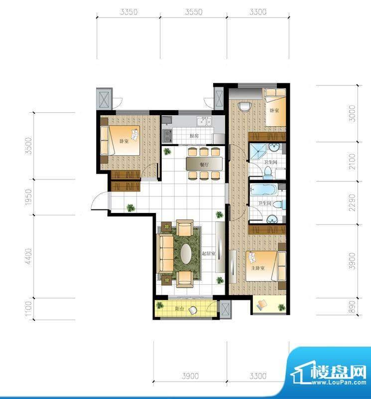 北京城建·世华泊郡4#I2户型 3面积:120.00平米