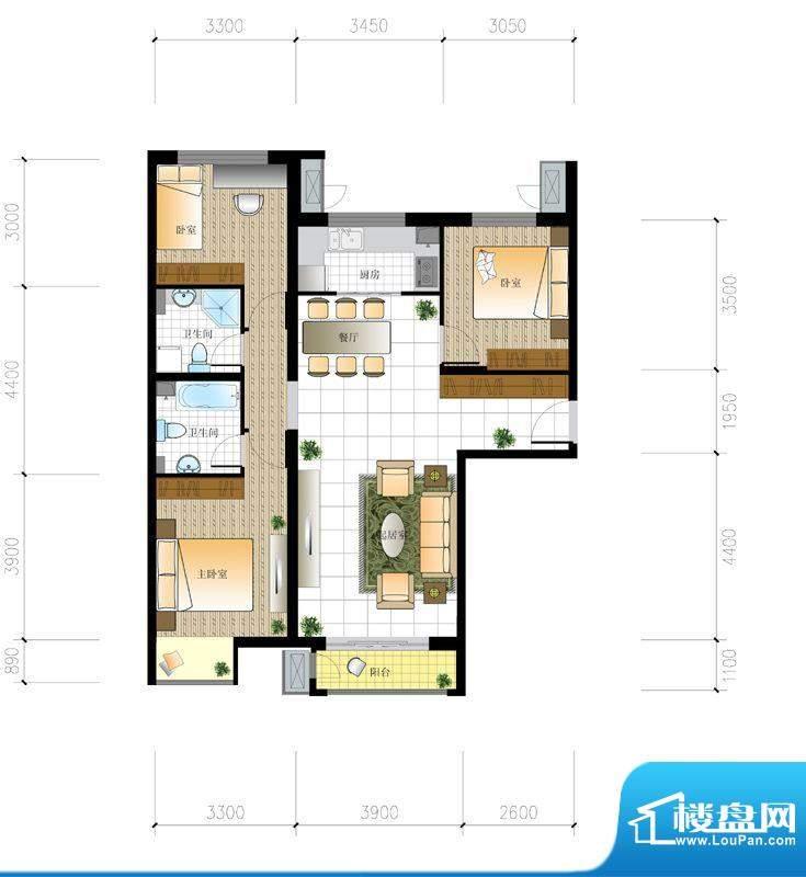 北京城建·世华泊郡4#I5户型 3面积:122.00平米