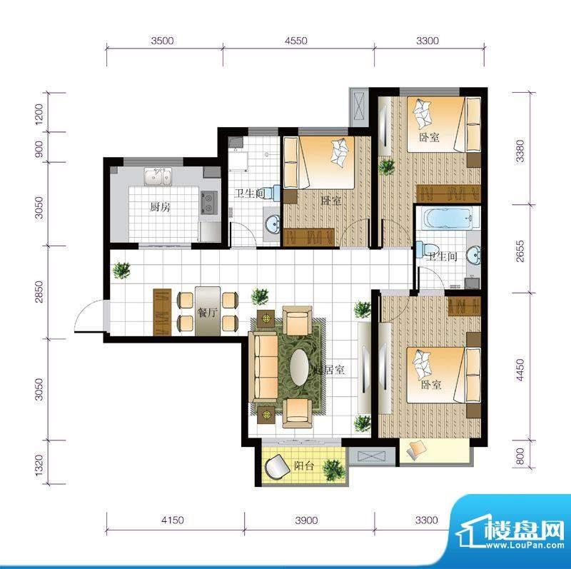 北京城建·世华泊郡1#B2户型 3面积:118.00平米