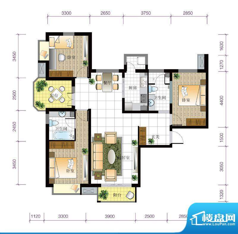 北京城建·世华泊郡1#B3户型 3面积:130.00平米