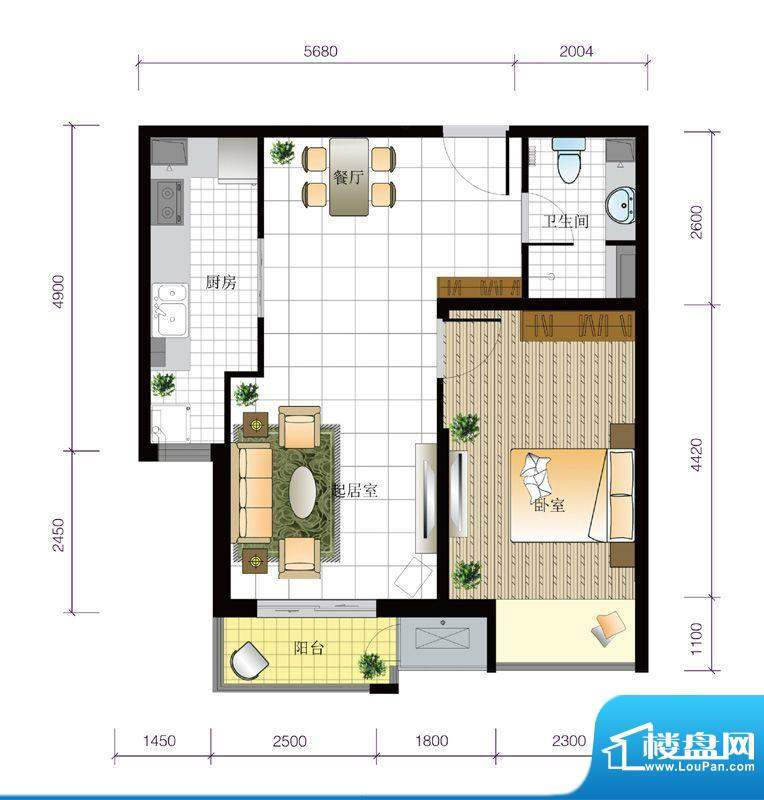 北京城建·世华泊郡12#G1户型 面积:66.00平米