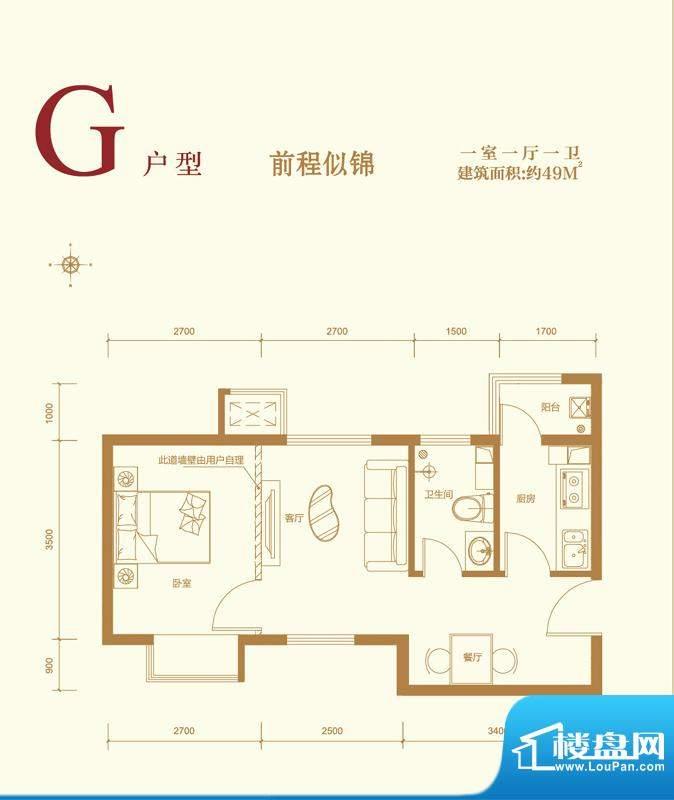 中国水电·云立方G户型 1室1厅面积:49.00平米