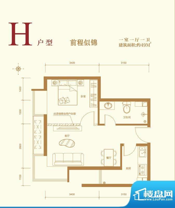 中国水电·云立方H户型 1室1厅面积:49.00平米