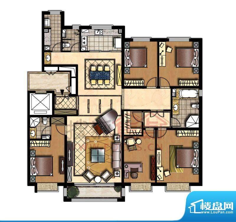 中信新城四居户型图 4室2厅2卫面积:228.00平米
