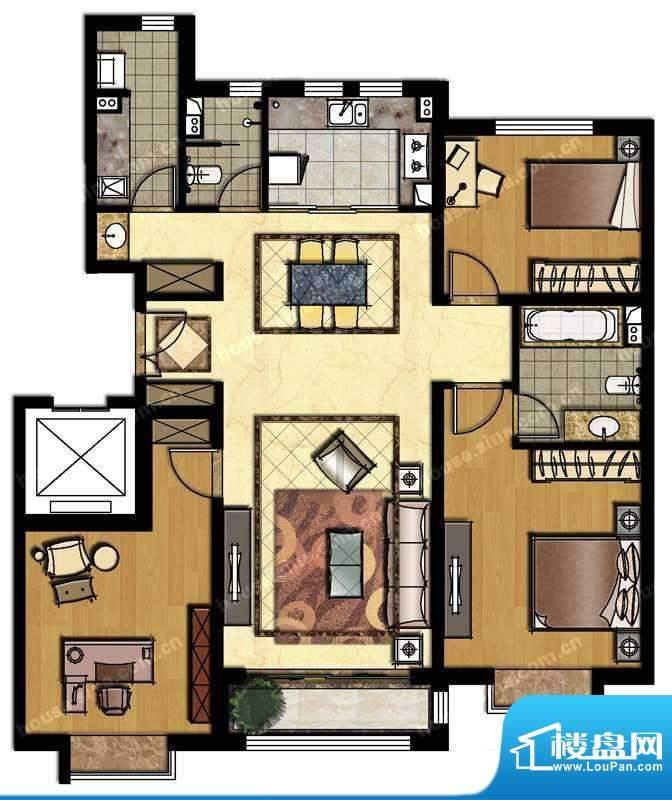 中信新城三居户型图 3室2厅2卫面积:142.00平米