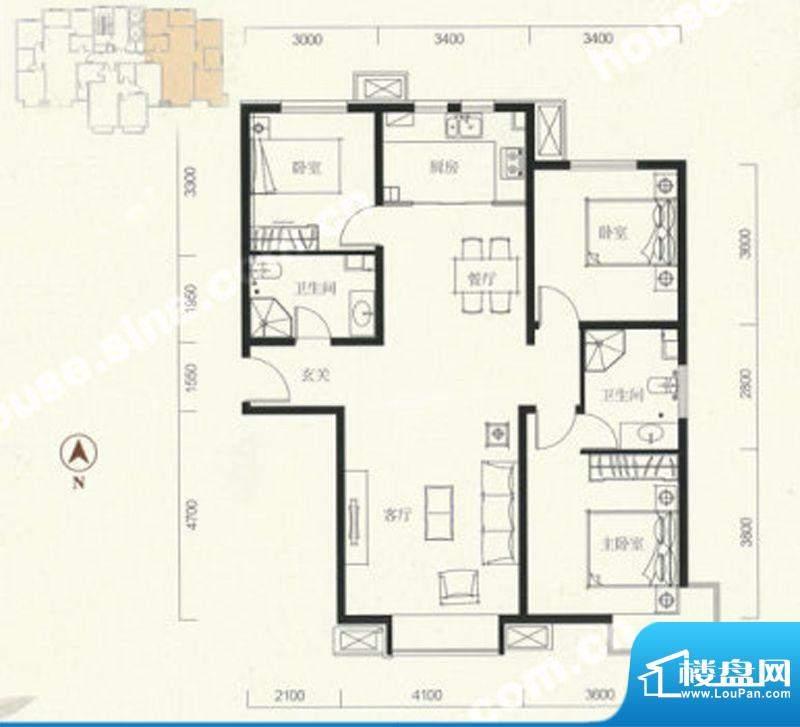 中信新城三居户型图 3室2厅2卫面积:124.00平米
