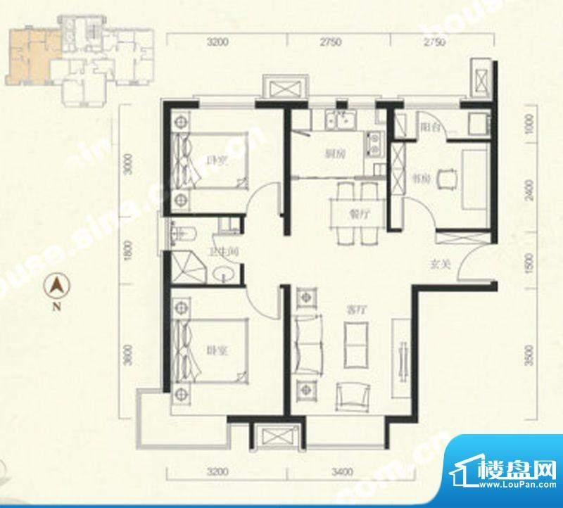 中信新城三居户型图 3室2厅2卫面积:82.00平米