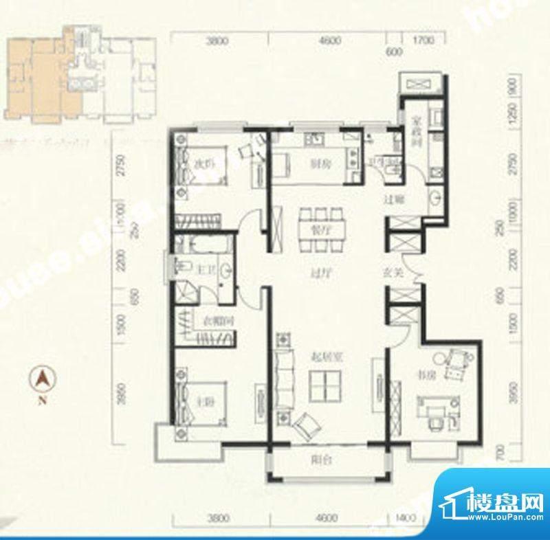 中信新城三居户型图 3室2厅2卫面积:166.00平米
