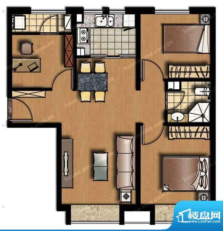 中信新城三居户型图 3室2厅1卫面积:87.00平米