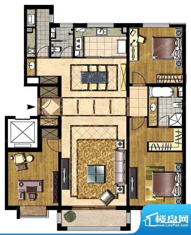 中信新城三居户型图 3室2厅2卫面积:162.00平米