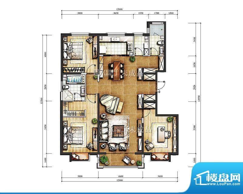 中信新城B-3号楼C户型图 3室2厅面积:170.00平米