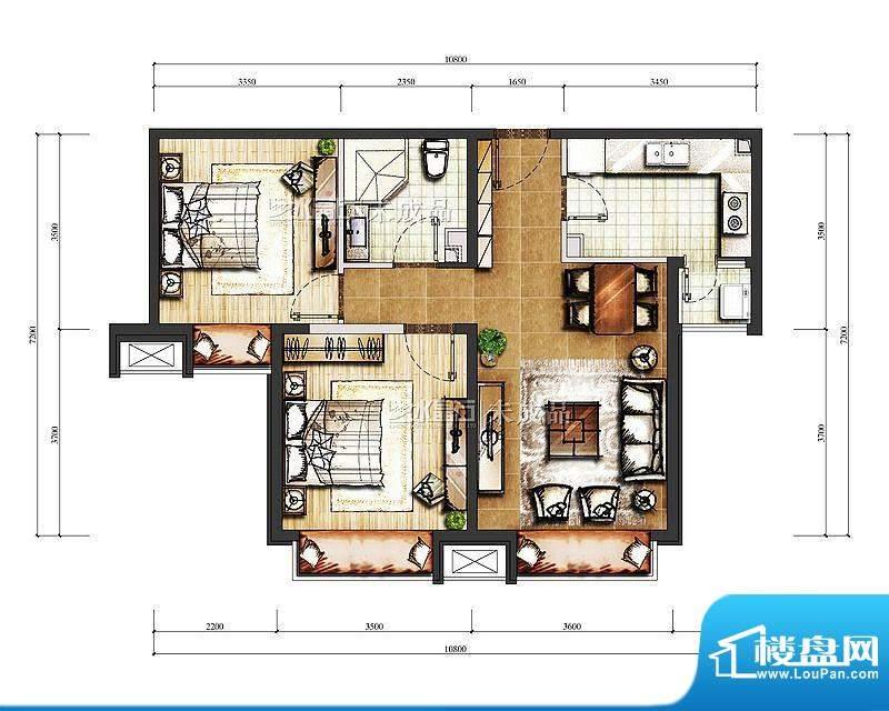 中信新城B-1号楼B户型图 2室2厅面积:84.00平米