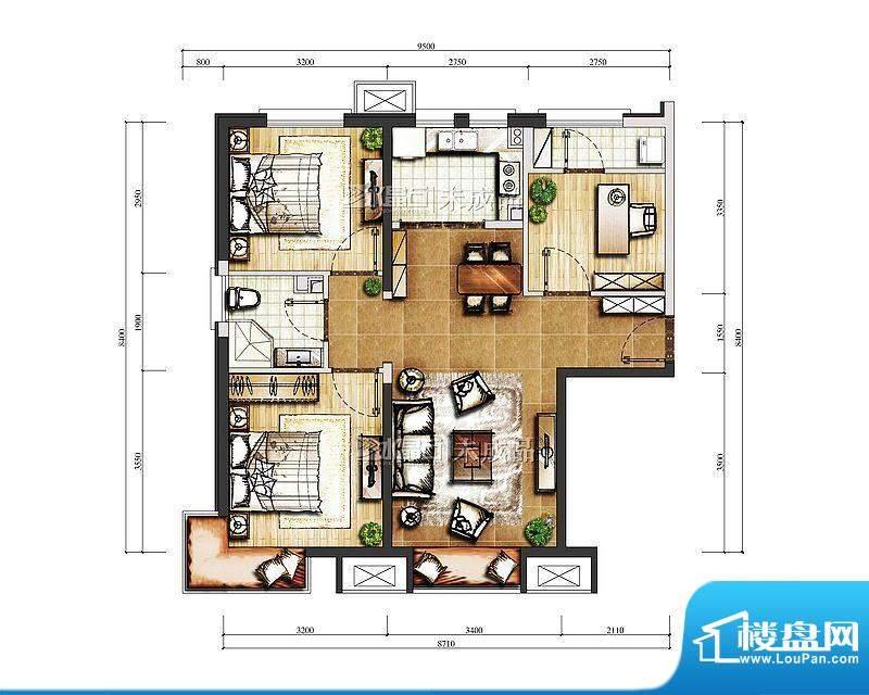 中信新城B-1号楼A户型图 3室2厅面积:86.00平米