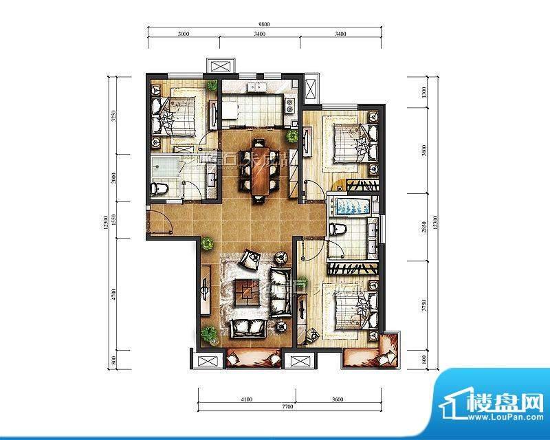 中信新城B-1号楼C户型图 3室2厅面积:129.00平米