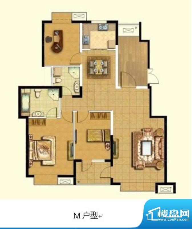 悦廷M户型 3室2厅2卫1厨面积:130.00平米