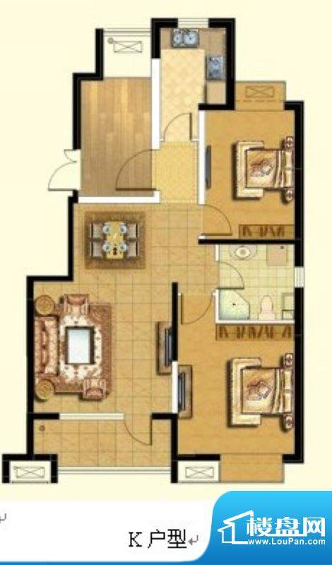 悦廷K户型 2室2厅1卫1厨面积:90.00平米