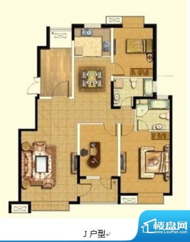 悦廷J户型 3室2厅2卫1厨面积:130.00平米