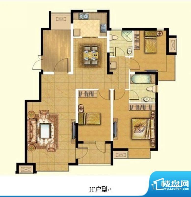 悦廷H'户型 3室2厅2卫1厨面积:130.00平米